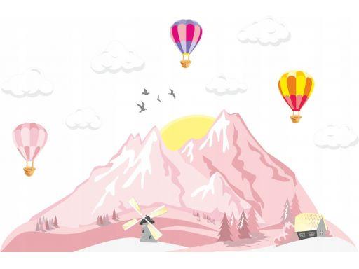 Naklejki góry chmurki wiatrak skandynawskie 100cm