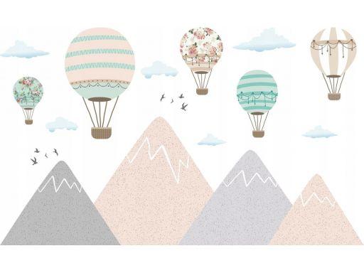 Naklejki pastelowy róż balony góry 200cm past_4531