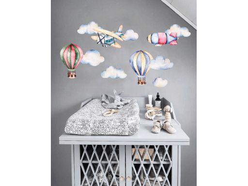 Naklejki pastelowe balony samoloty chmurki 250cm