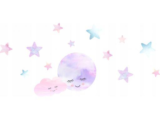 Naklejki śpiący księżyc chmurki gwiazdki 130x60cm