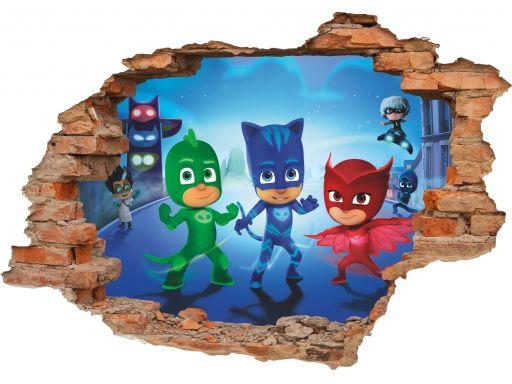Naklejki na ścianę dla dzieci pj masks 3d 160x110