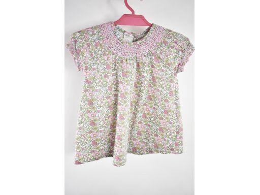 H&m bluzka w kwiatki krótki rękaw r. 80cm
