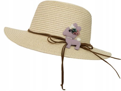 Dziewczęcy kapelusz letni z gumką plażowy miejski
