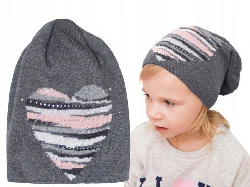 Wiosenna miękka czapka serce 50 52 54 jesień kolor