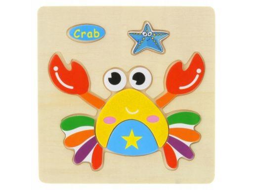 Drewniana układanka edukacyjna zwierzątko krab