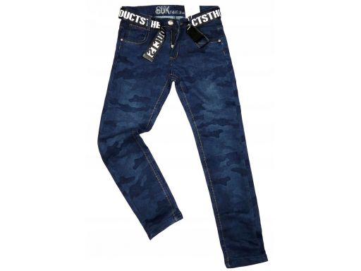 Spodnie jeans moro elastyczne rozm.140