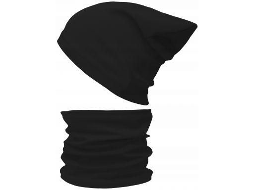 Czapka komin komplet bawełniany 48-56 czarny