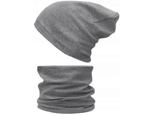 Czapka komin komplet bawełniany 48-56 szary