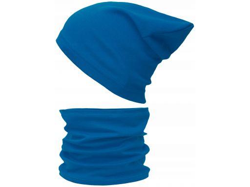 Czapka komin komplet bawełniany 48-56 niebieski