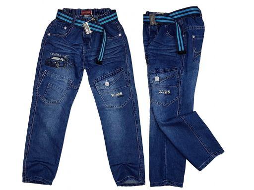 Spodnie jeansy w gumkę trans r 134 cm granat