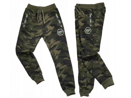 Ocieplone spodnie dresowe moro army player r 146