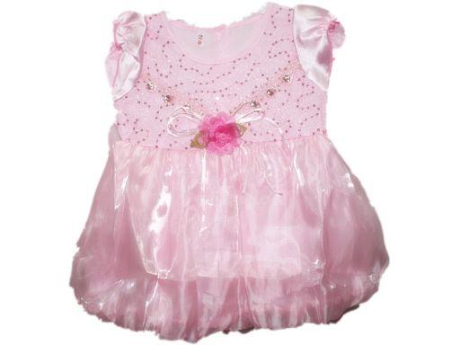 Elegancka atłasowo-szyfonowa sukienka cekiny- 2 l