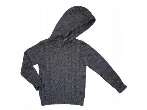 Sweter z kapturem gerard r 8 - 122/128 cm szary