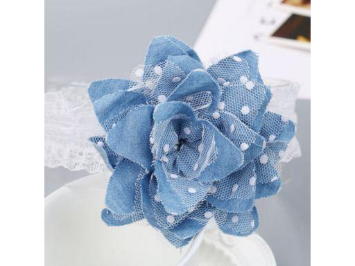 Urocza opaska jeansowy kwiatek od 32 cm *