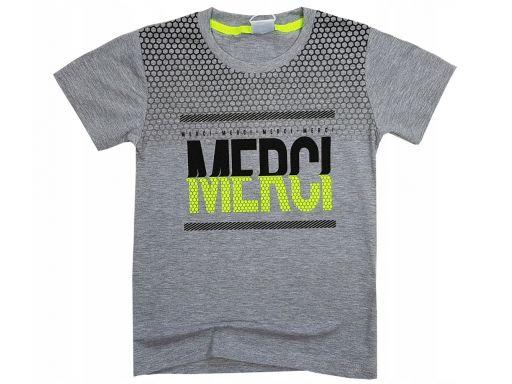 T-shirt koszulka merci r 10 -134/140 cm grey