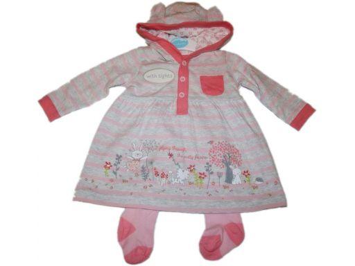 Babies * - piękna szara sukienka - 0-3 m 4,5-6 kg
