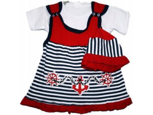 Piękna marynarska sukienka i kapelusz -74 cm 3 cz*