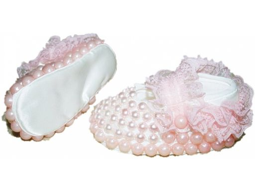 Przepiękne atłas perełki,buciki chrzest -3-6 m 11*