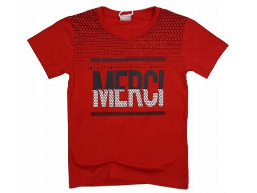 T-shirt koszulka merci r 10 -134/140 cm red