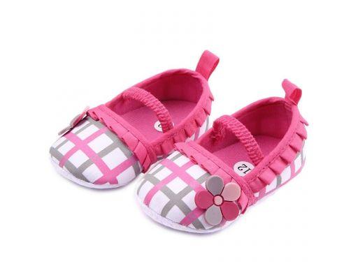 Przepiękne buciki w kratkę - 6-9 m 12 *