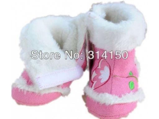 Różowe cieplutkie buciki kozaczki - do 12 m 3*