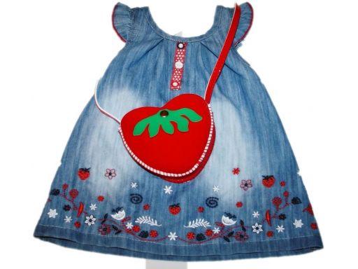 Cinen* piękna jeansowa sukienka- torebka- 80 cm