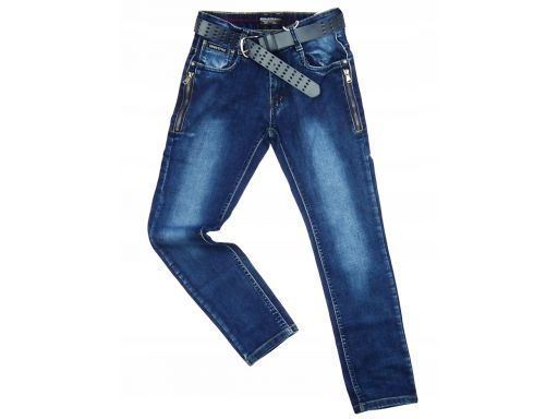 Jeansy elastyczne texas zip 9 ok. 128/134