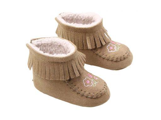 Beżowe cieplutkie buciki kozaczki - 6-9 m (12)*