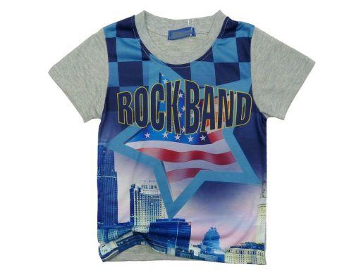 Bluzka t-shirt rock band 6 ok. 110 grey