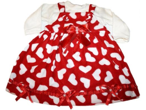 Polarowa sukienka i bluzka serduszka - 92 cm