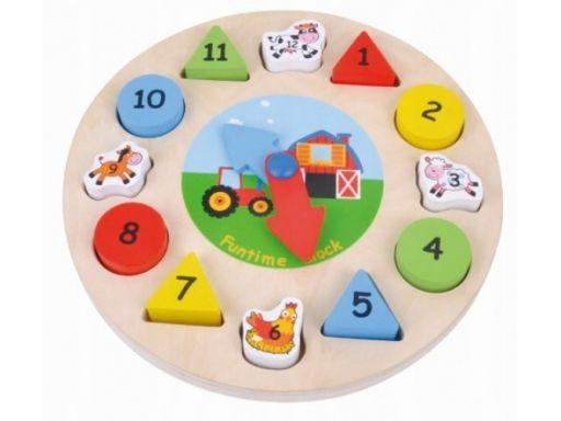Sunbaby drewniane puzzle edukacyjne zegar 12 elem