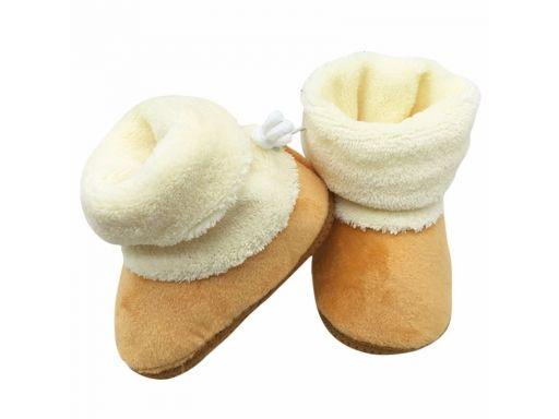 Beżowe cieplutkie buciki kozaczki - 3-6 m (12)*