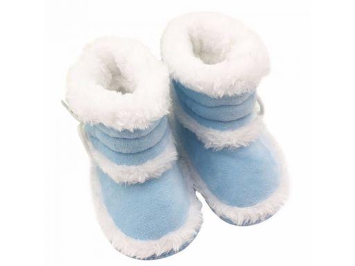 Niebieskie cieplutkie buciki kozaczki -9-12 m 13*