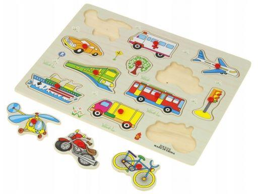 Drewniana układanka 12 el. puzzle pojazdy miejskie