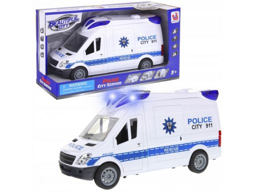 Policja auto van samochód policyjny dźwięki napęd