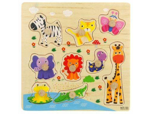 Drewniana układanka 9 el. puzzle zwierzęta żyrafa