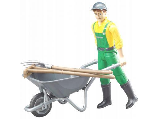 Rolnik z miotłą, rolnik w ogrodniczkach figurka br