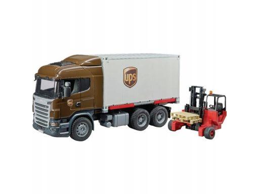 Ciężarówka scania ups z wózkiem widłowym bruder 03