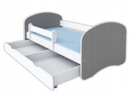 Łóżko happy ii szuflada i materac 160x80 - szary