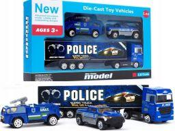 Zestaw policja 3 auta metalowe resoraki tir 1:87