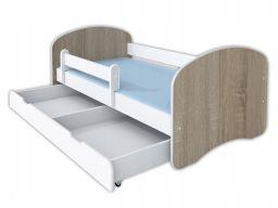 Łóżko happy ii szuflada, materac 160x80 dąb sonoma