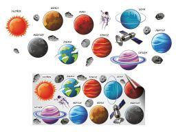 Naklejki na ścianę dla dzieci kosmos planety 170cm