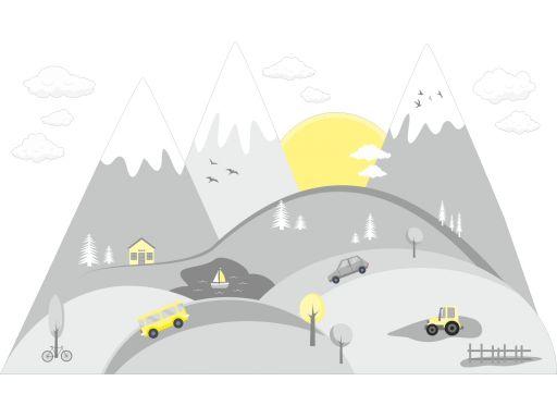 Naklejki dla dzieci góry chmurki auta śnieg 165cm