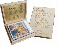 Biblia pismo święte komunia chrzest pudełko grawer