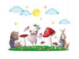 Bajkowy las królik miś naklejki dla dzieci 90x60cm