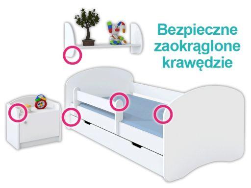 Łóżko happy szare 140x70 zestaw szuflada i materac