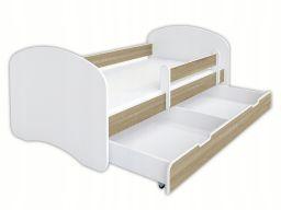Łóżeczko 140x70 z szufladą i materacem -dąb sonoma