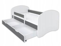 Łóżeczko 140x70cm dwustronne z materacem - szare
