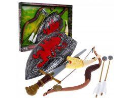 Zestaw wojownika łuk tarcza miecz róg