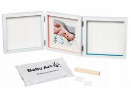 Baby art potrójna biała ramka zdjęcia+2odciski